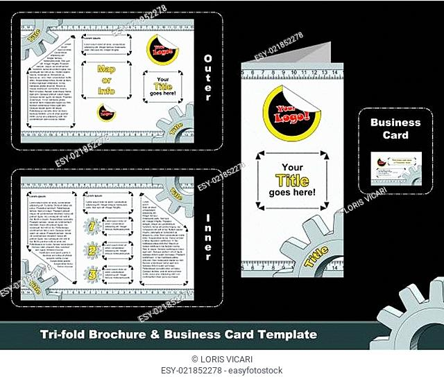 Technical tri-fold dépliant and business card template