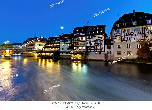 Half-timbered houses in the district of La Petite France, Strasbourg, Ill, Alsace, France, Europe