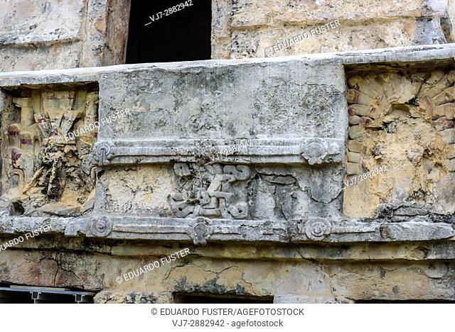 Detail of Temple of the Frescoes in Tulum, Quintana Roo (Mexico)