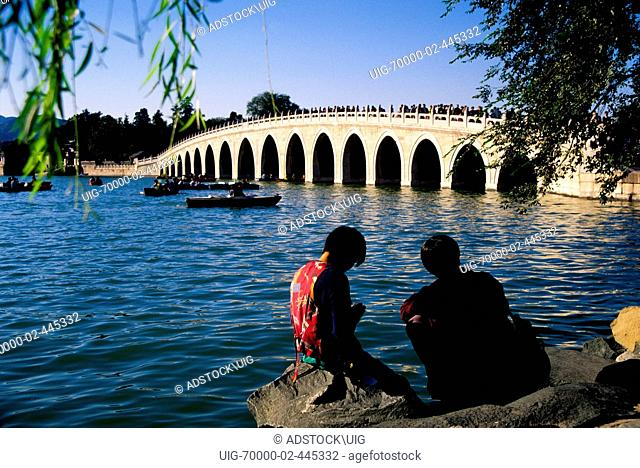 Beijing, China: Summer Palace Seventeen-Arch Bridge constructed of marble over Kunming Lake