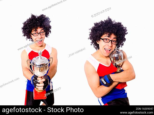 The funny man after winning gold cup isolated on white