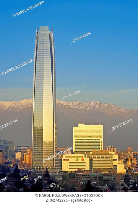 Chile, Santiago, View from the Parque Metropolitano towards the high raised buildings with Costanera Center Tower, the tallest building in South America