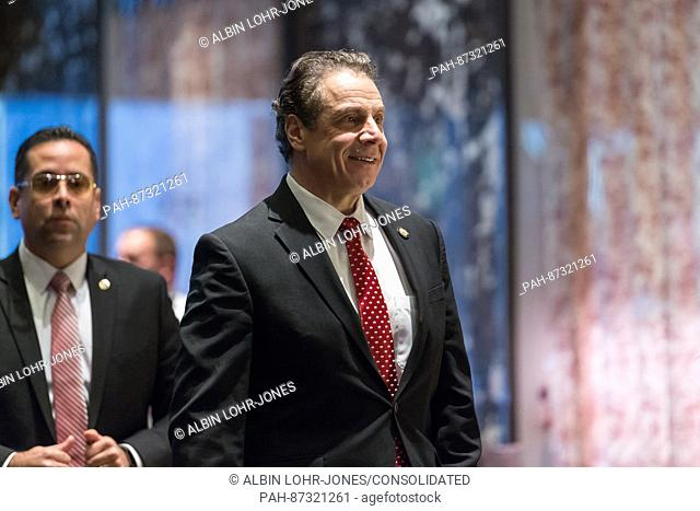 New York State Governor Andrew Cuomo is seen upon his arrival in in the lobby of Trump Tower in New York, NY, USA on January 18, 2017