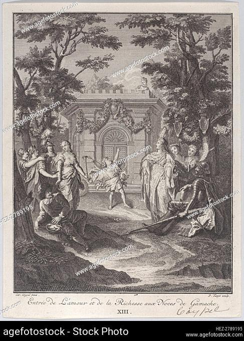 Plate 13: entrance of Love and Wealth to Gamache's wedding (Entrée de L'amour et de la Ric.., 1745. Creator: Pierre Tanje