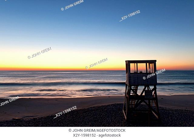 Lifeguard stand at sunrise, Nauset Beach, Cape Cod, MA, USA