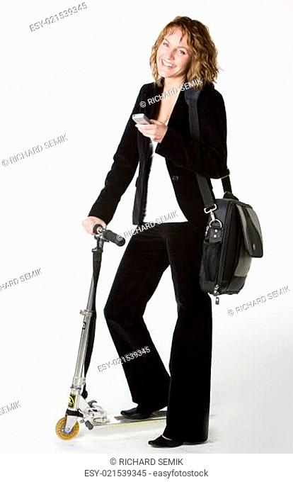 businesswoman with a scooter