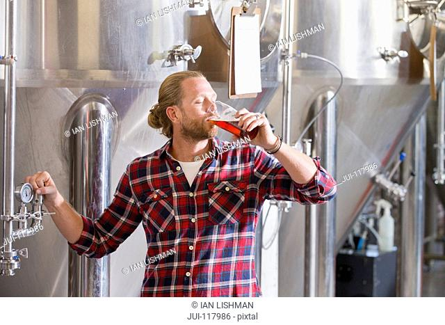 Male Brewery Worker Tasting Beer Sample For Quality Control