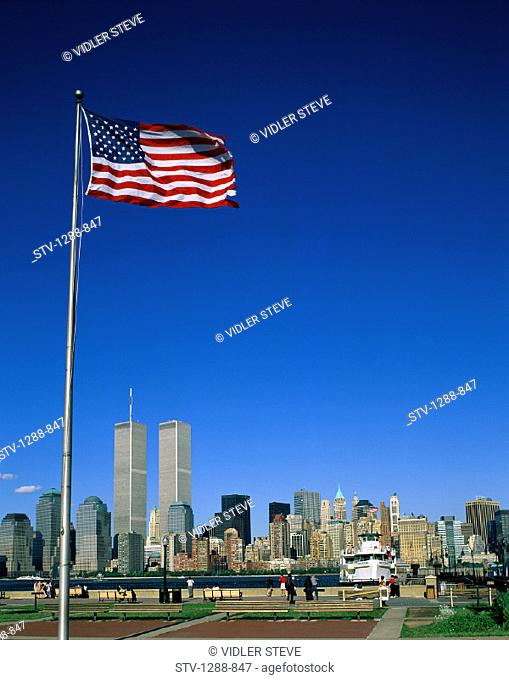America, Benches, Boat, Center, City, Financial, Flag, Holiday, Landmark, New york, New york city, Park, Skyline, Skyscrapers, T