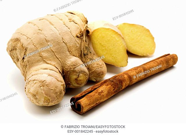 Ginger Zingiber officinale and Indonesian Cinnamon quills Cinnamomum burmannii on a white background