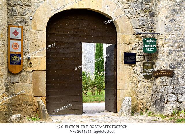 The entrance of the ancient Chateau de Cenevieres, The Lot, Midi-Pyrenees, France, Europe