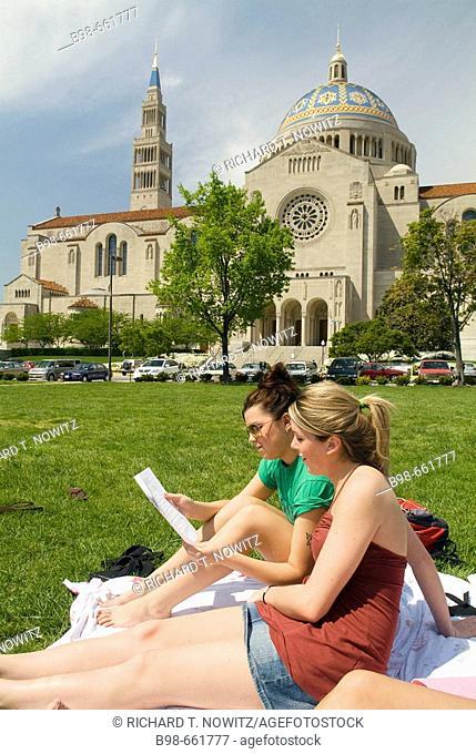 A group of young women students study on campus at Catholic University, Washington, DC