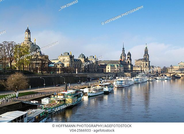View of the Brühl Terrace with Hausmann Tower and Hofkirche (Catholic Court Chapel) and the river Elbe in the foreground, Dresden, Saxony, Germany, Europe