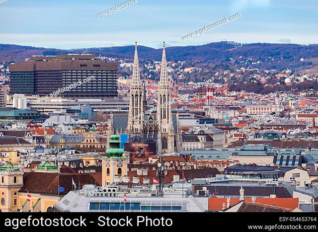 Vienna, Austria January 2, 2018. View from the observation platform St. Stephen's Cathedral Domkirche St. Stephan on the architecture of the city center