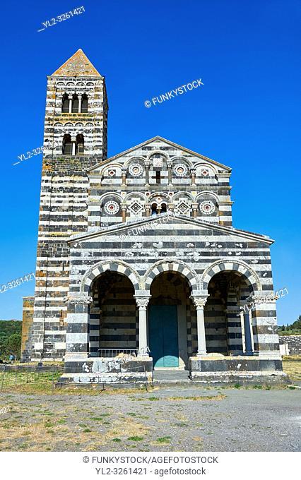 Picture and image of the exterior of the Tuscan Romanesque Pisan style basilica of Santissima Trinita di Saccargia, consecrated 1116, Codrongianos, Sardinia