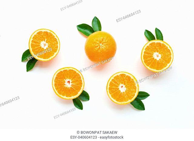 Fresh orange citrus fruit isolated on white background