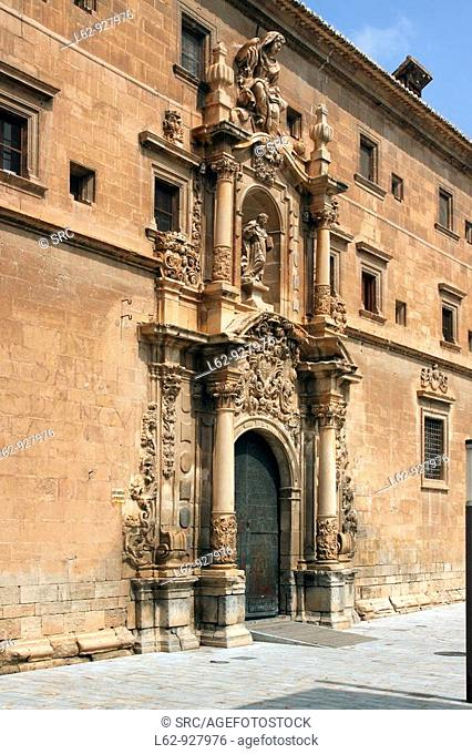 18th century Baroque façade of the former university (College of Santo Domingo) designed by Pedro Juan Codoñer, Orihuela
