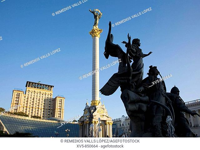 Ukraine Kiev Independence Square Monuments: the Varangians believed founders of the city and the Berehynia at the botton