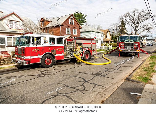 Fire trucks on a residential street