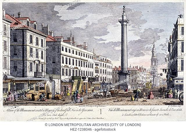 View south along Fish Street Hill, London, 1794 with Monument and St Magnus the Martyr on left. Also showing are shop fronts, figures, a cart and a coach