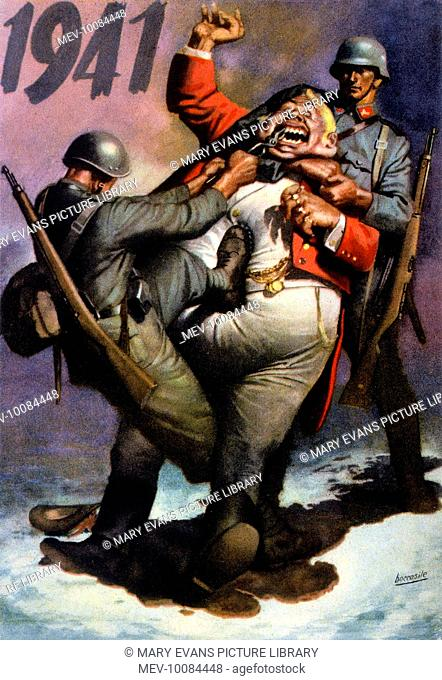 Together, the Italian and German soldiers draw John Bull's teeth