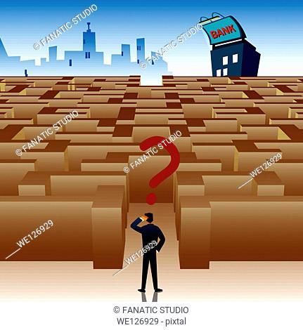 Businessman standing at the entrance of maze and looking confused to find the way to bank