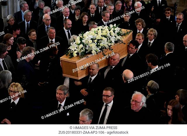 March 31, 2018 - Cambridge, Cambridge, United Kingdom - Professor Stephen Hawking funeral. Family and friends of Professor Stephen Hawking attend his funeral at...