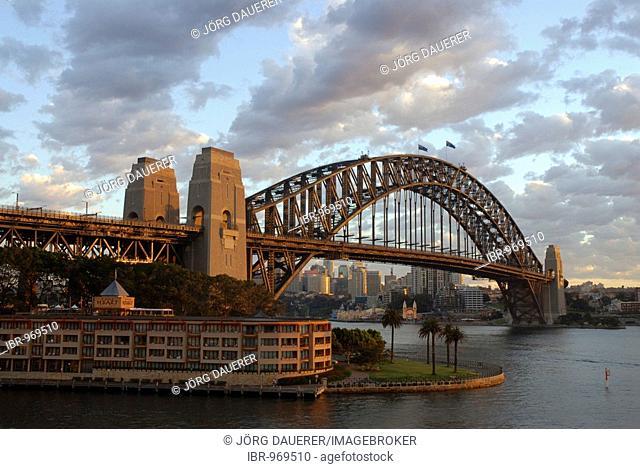 Sydney Harbor Bridge and The Rocks in soft early morning light, Sydney, New South Wales, Australia