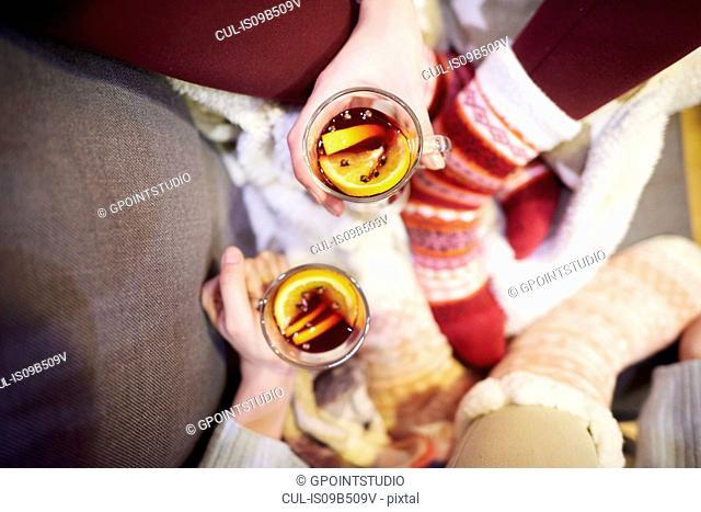 Friends enjoying mulled wine