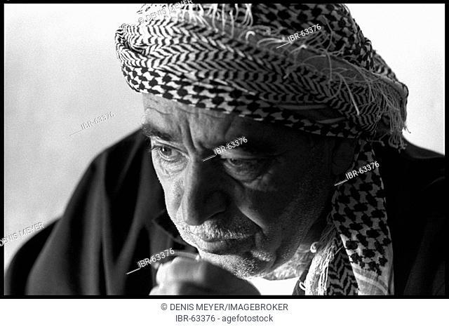 Kurdish man drinking tea, Qarradarra