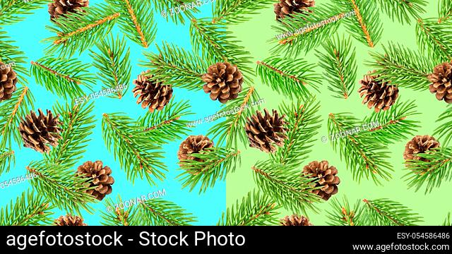Fir tree branches seamless pattern, pine branch, Christmas conifer background, New Year winter pattern