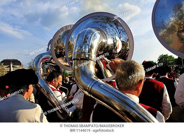 Tuba player at the Zurich Sechselaeuten, annual traditional festival, in Zurich, Switzerland, Europe