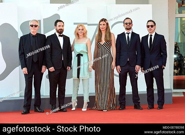 Paul Webster, Pablo Larraín, Kristen Stewart, Janine Jackowski, Jonas Dornbach, Juan de Dios Larraín at the 78 Venice International Film Festival 2021