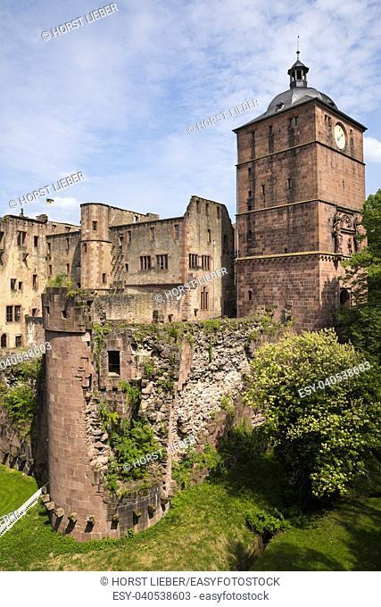 View of Seltenleer (left) and gate tower-Heidelberg, Baden Wuerttemberg, Germany