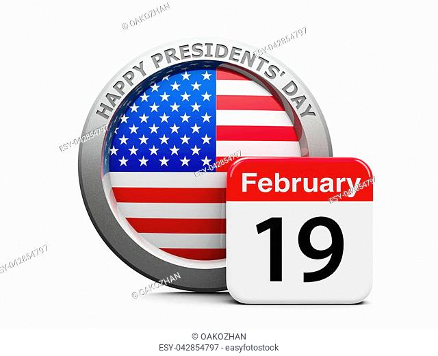Emblem of USA with calendar button - The Nineteenth of February - represents Presidents' Day 2018 in USA, three-dimensional rendering, 3D illustration