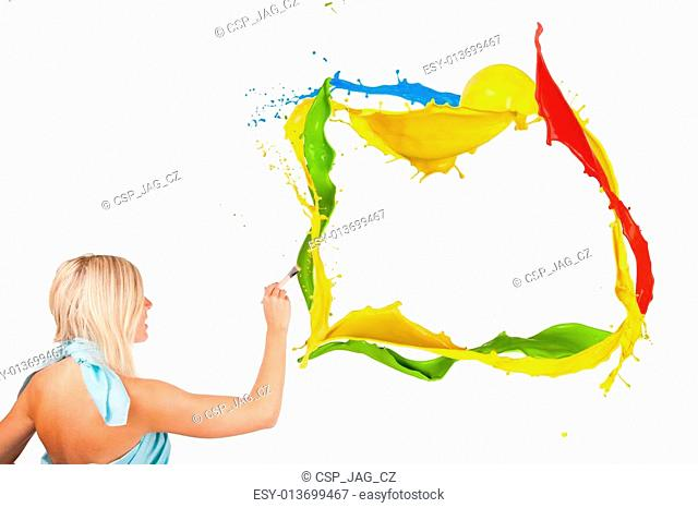 Beautiful paintress painting colored splashes frame, isolated on white background