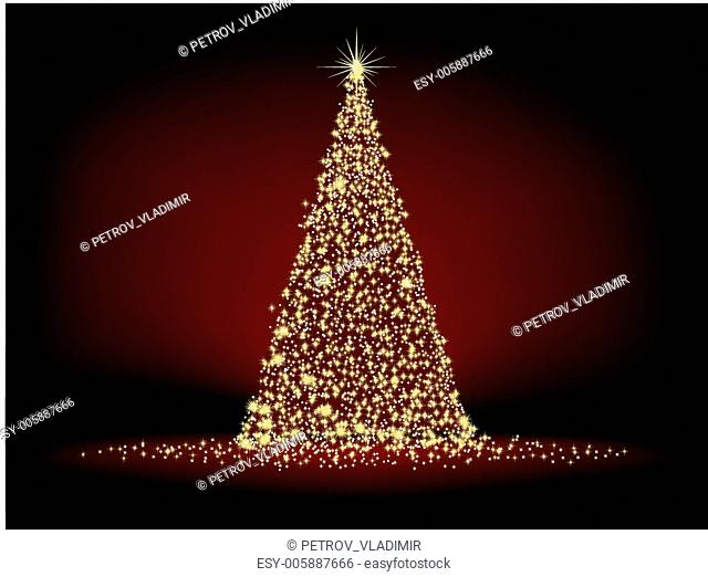 Abstract golden christmas tree on red. EPS 8