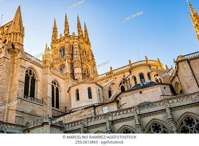 The Cimborrio octagonal tower. Cathedral of Saint Mary of Burgos. Burgos, Castile and Leon, Spain, Europe