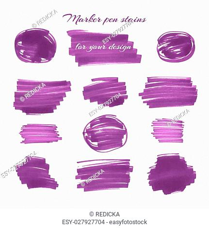 Dark violet marker pen spots and lines isolated on a white background for your design. Vector illustration