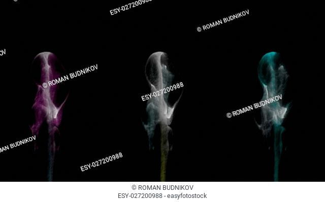 Colorful smoke explosion on a black background. Computer graphic