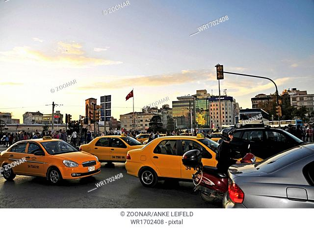 Evening at the Taksim Square in Istanbul