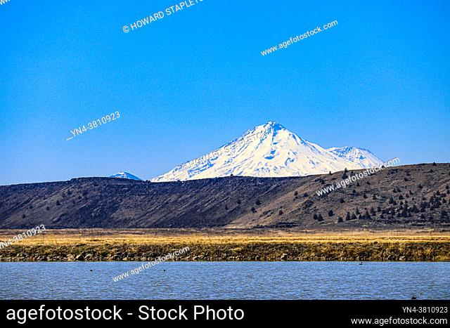 Tule Lake and Mount Shasta in Northern California