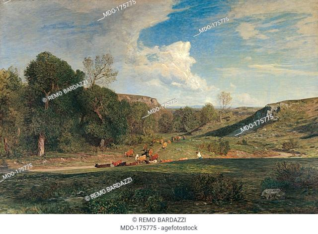 After the Rain, by Antonio Fontanesi, 1861, 19th Century, oil on canvas, cm 192 x 198. Italy, Tuscany, Florence, Gallery of Modern Art, Palazzo Pitti