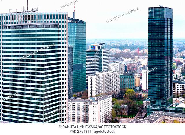 Panoramic view of city center of Warsaw, crossroad - Emilli Plater street Swietokrzyska street, first to left skyscraper - Emillii Plater street number 53 is...