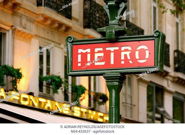 Metro sign, Paris. France