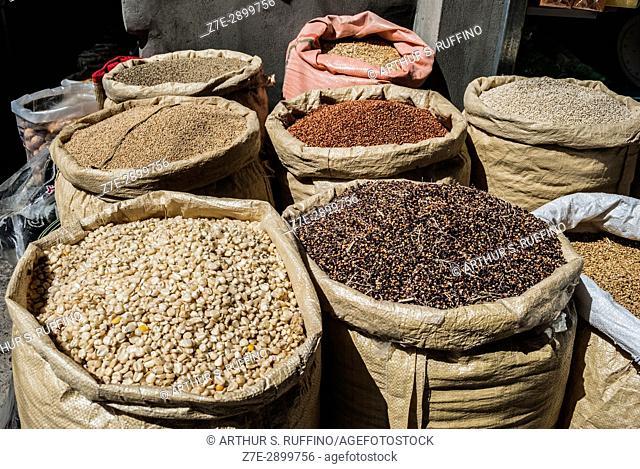 Sacks of grains, legumes, etc. Nizwa Fort market, Nizwa Fort Souq, Nizwa Fort, Nizwa, Ad Dakhiliyah Governorate, Oman
