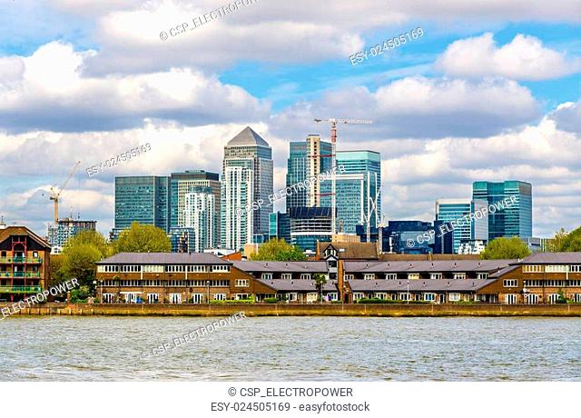 View of Canary Wharf district with the Thames River - London
