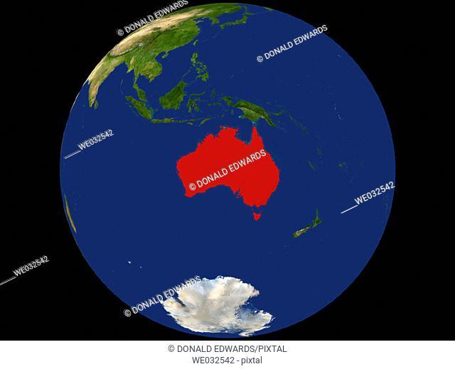 Highlighted Satellite Image Of Australia