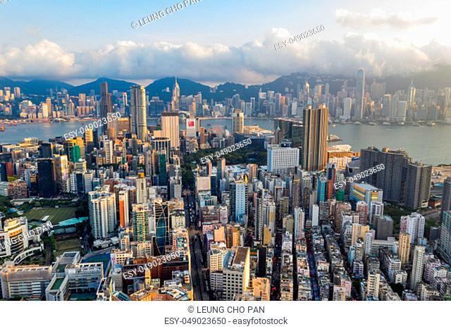 Mong Kok, Hong Kong 04 September 2018:- Top view of Hong Kong skyline