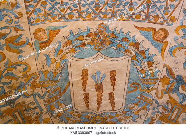 Frescoes, Church of Santa Clara, Founded 1553, Dzidzantun, Yucatan, Mexico