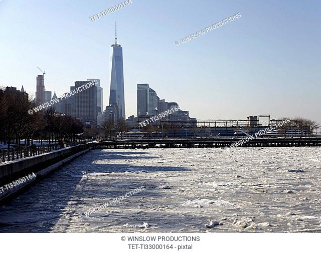 View of Freedom Tower from promenade
